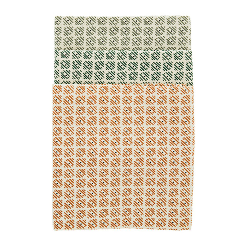 Madam Stoltz-collectie Printed kitchen towels - Ecru, sugar almond, emerald, grey