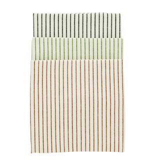 Madam Stoltz Striped kitchen towels - Ecru, black, green, sienna
