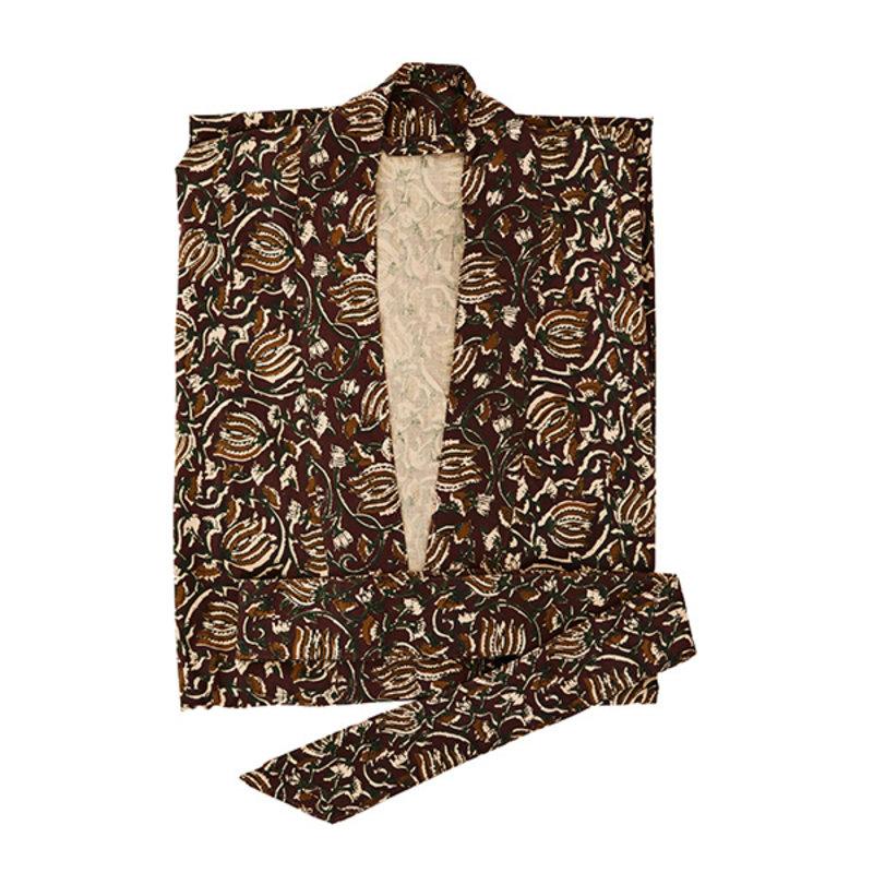 Madam Stoltz-collectie Printed cotton kimono w/ belt - Ruby wine, green, sugar almond, nude, black