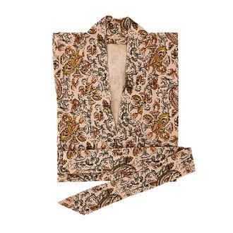 Madam Stoltz Printed cotton kimono w/ belt - Dusty rose, abricot, lavender, black, tapernade