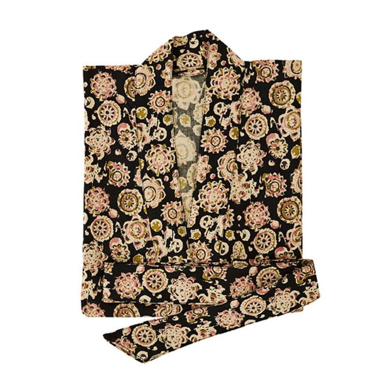 Madam Stoltz-collectie Printed cotton kimono w/ belt - Black, sand, olive, dusty rose