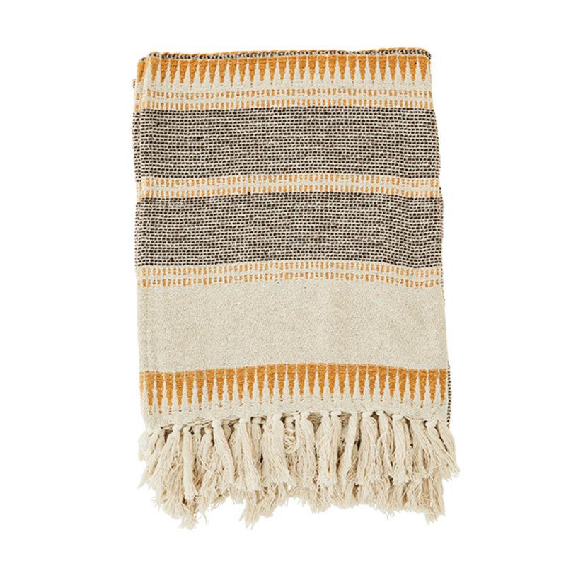 Madam Stoltz-collectie Striped throw - Ecru, brown, honey