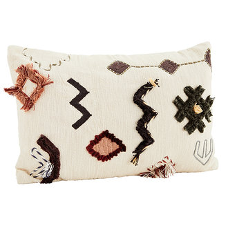 Madam Stoltz Embroidered cushion cover - Off white, black, capers, sugar almond