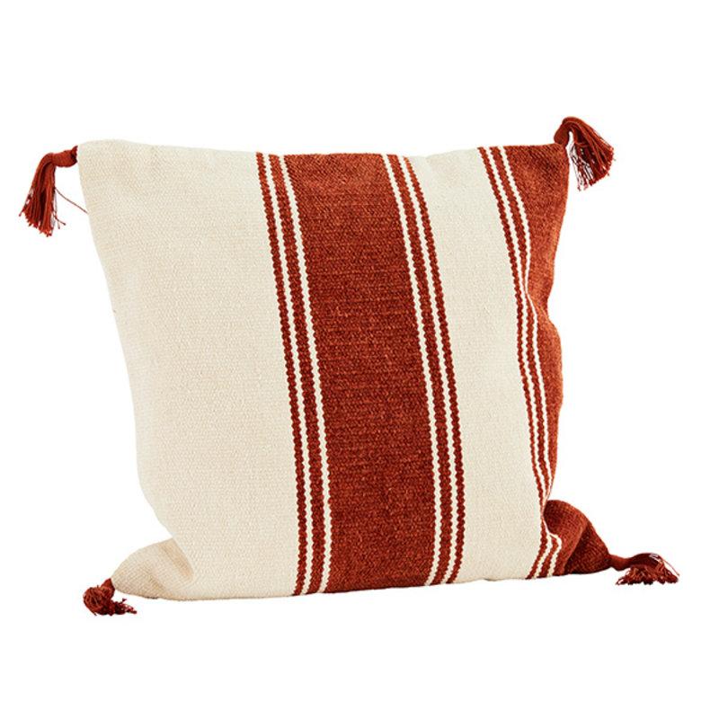 Madam Stoltz-collectie Chenille cushion cover - Off white, brick