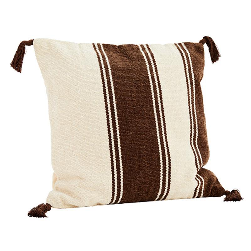 Madam Stoltz-collectie Chenille cushion cover - Off white, brown