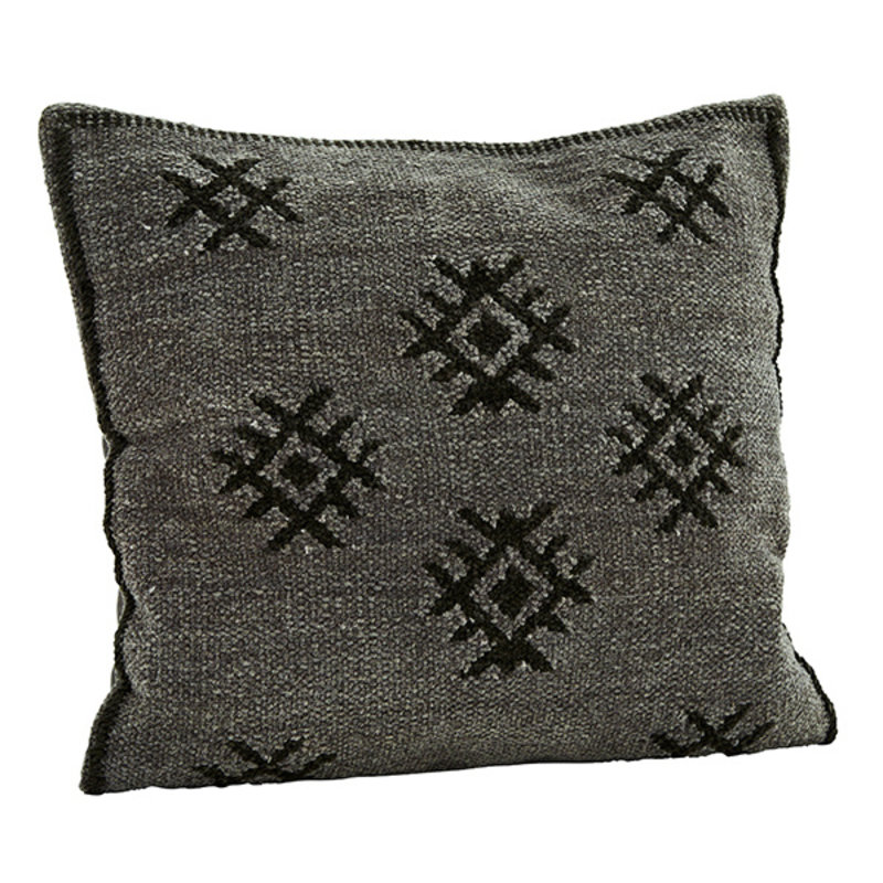 Madam Stoltz-collectie Chenille cushion cover - Dark grey, charcoal