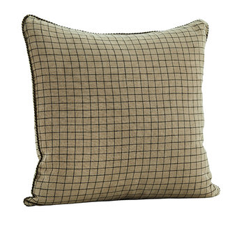 Madam Stoltz Checked linen cushion cover