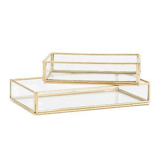 Madam Stoltz Tray glas goud - set v. 2  - 13,5x8x3 / 18x10x3
