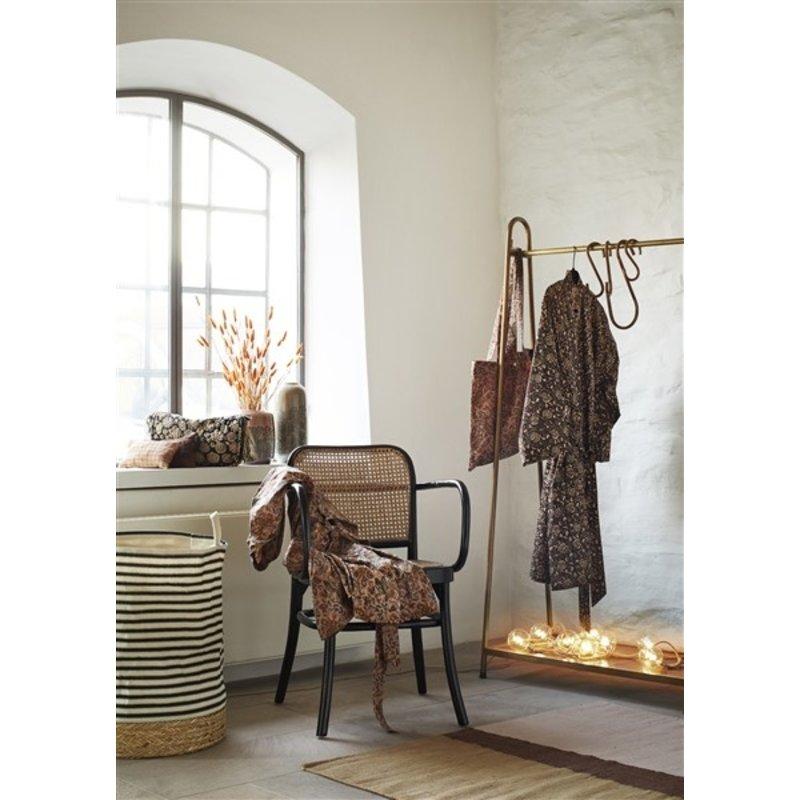Madam Stoltz-collectie Printed cotton kimono w/ belt - Dusty rose, abricot, lavender, black, tapernade