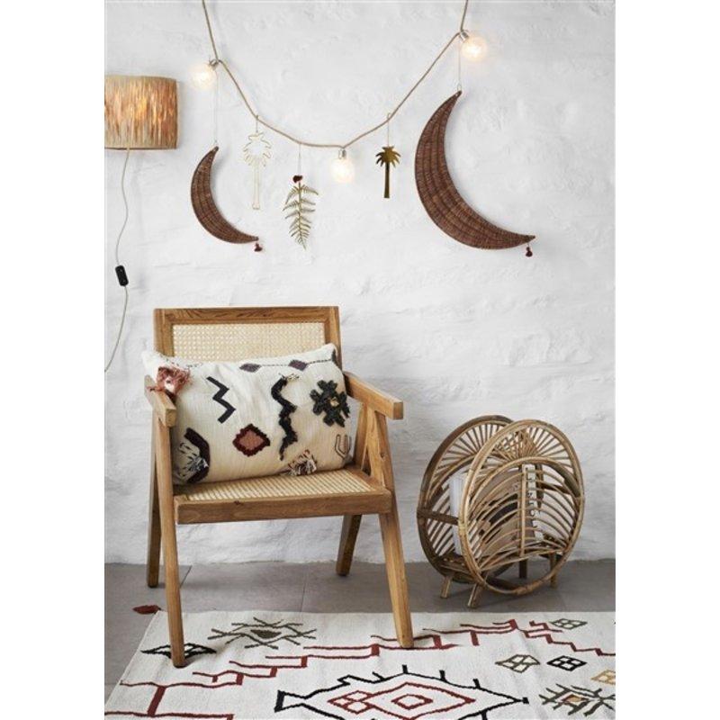 Madam Stoltz-collectie Embroidered cushion cover - Off white, black, capers, sugar almond