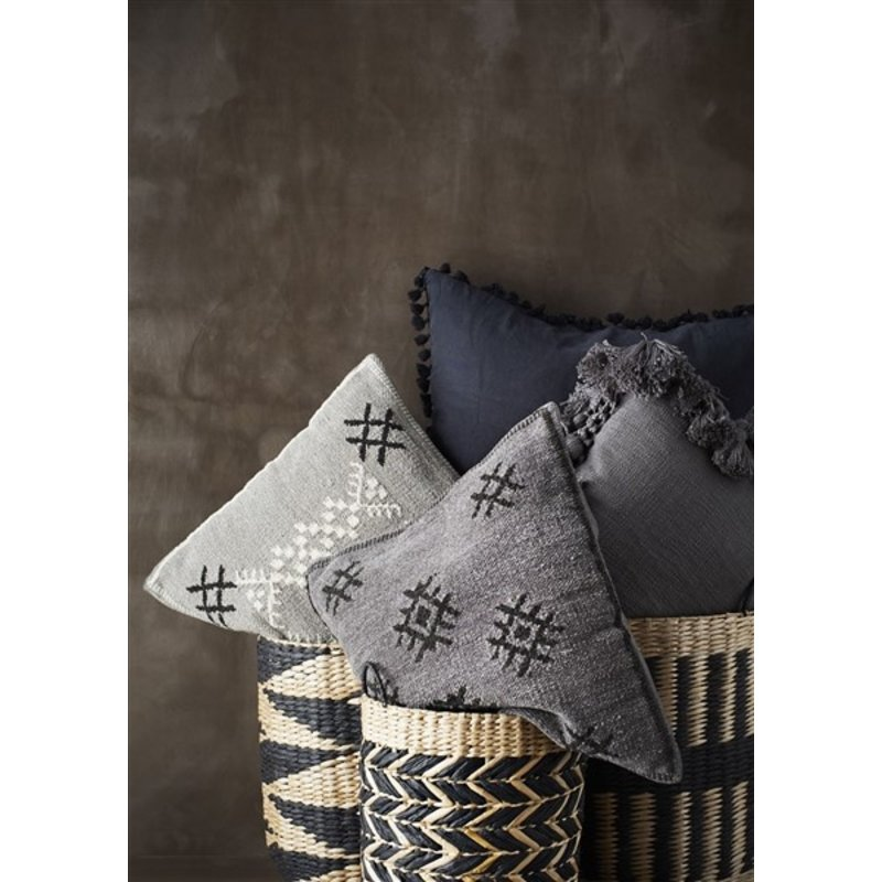 Madam Stoltz-collectie Chenille cushion cover - Light grey, black, off white