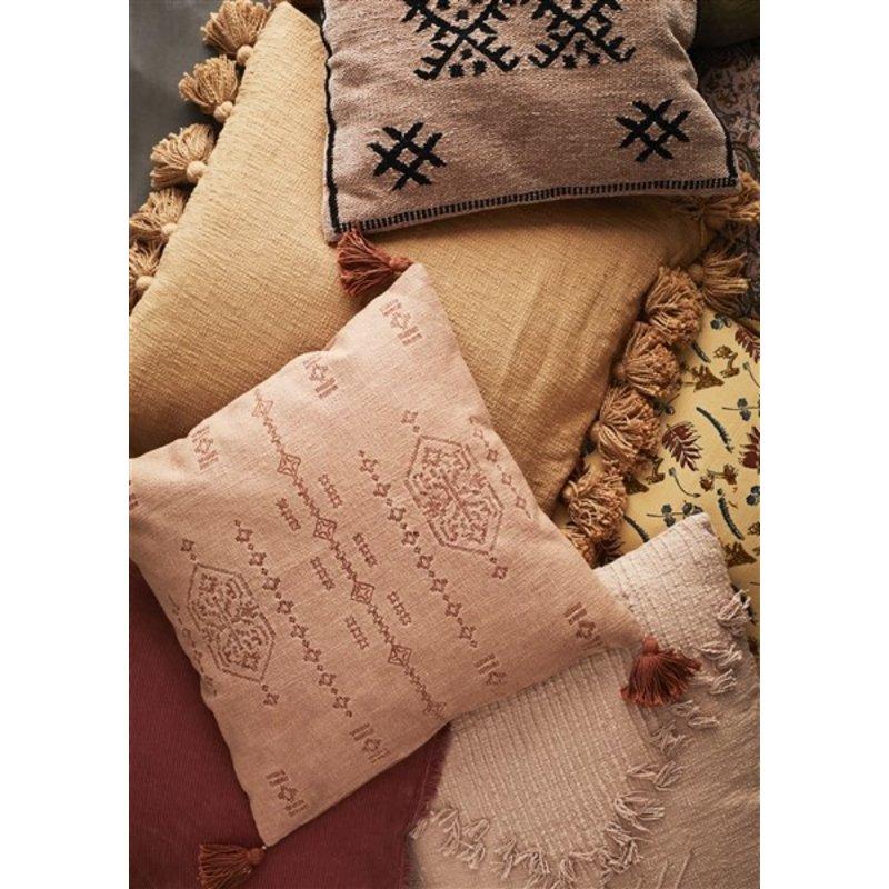 Madam Stoltz-collectie Chenille cushion cover - Dark nude, black