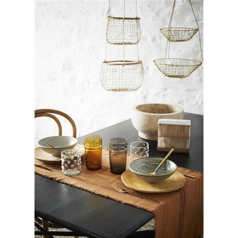 Madam Stoltz-collectie Hanging wire baskets w/ cane - Ant.brass, natural