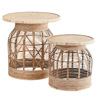 Madam Stoltz Rattan side tables - Natural