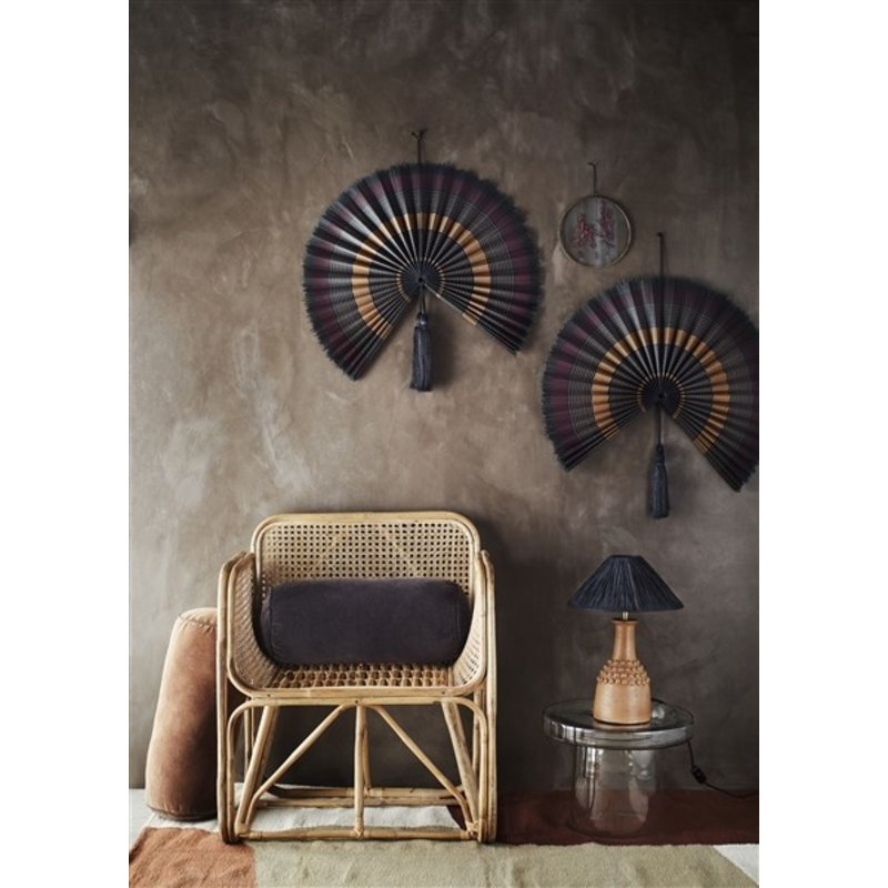 Madam Stoltz-collectie Terracotta table lamp w/ raffia - Natural, black