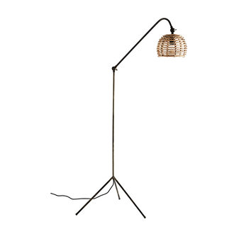 Madam Stoltz Floor lamp w/ bamboo shade - Natural, ant.iron