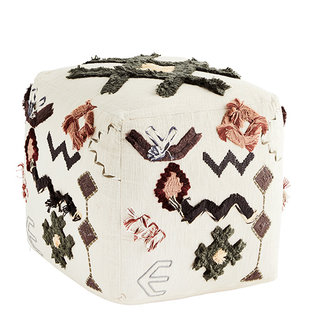 Madam Stoltz Embroidered pouf - Off white, black, capers, sugar almond