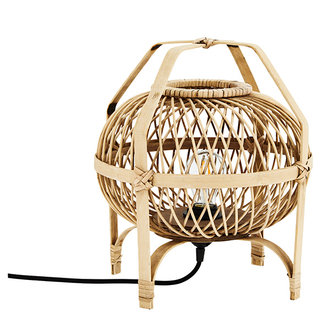 Madam Stoltz Rattan table lamp - Natural, black