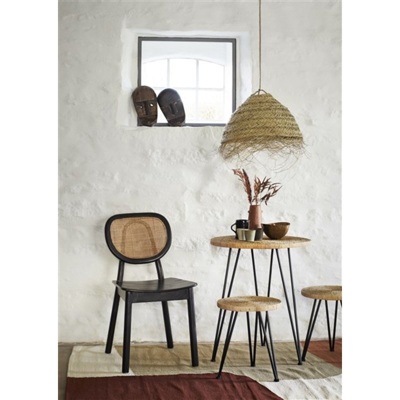 Madam Stoltz-collectie Straw rope table w/ stools - Natural, black