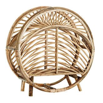 Madam Stoltz Round cane magazine rack - Natural
