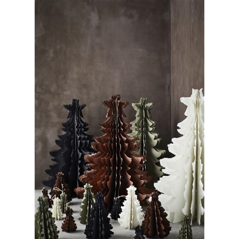 Madam Stoltz-collectie Standing paper pulp christmas tree - Ivory