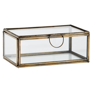Madam Stoltz Glass box ant.brass 13x8x5 - Copy
