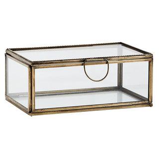 Madam Stoltz Glazen box  antiek brass 16x10x7 cm