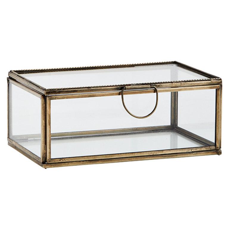 Madam Stoltz-collectie Glass box ant.brass 13x8x5 - Copy