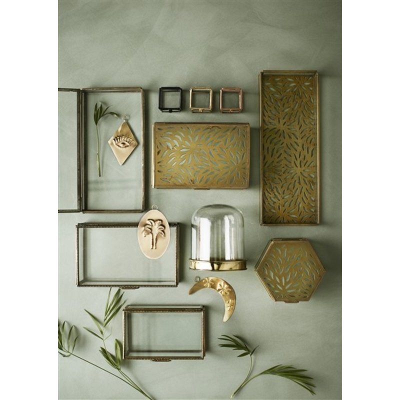 Madam Stoltz-collectie Glazen box  antiek brass 16x10x7 cm