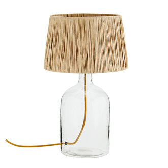 Madam Stoltz Glass table lamp w/ raffia shade - Clear, natural, ant.brass