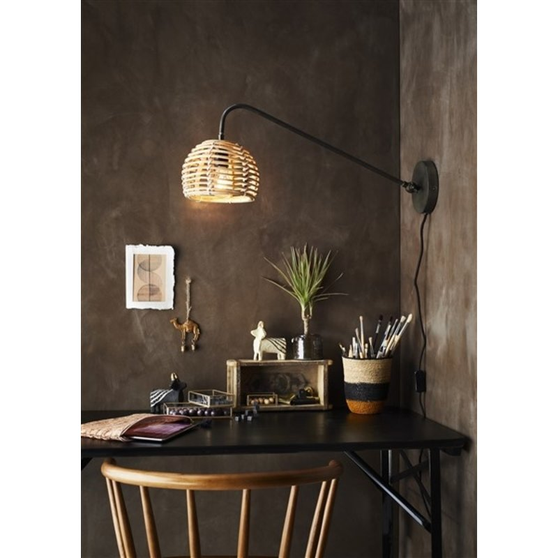 Madam Stoltz-collectie Wall lamp w/ bamboo shade - Natural, ant.iron