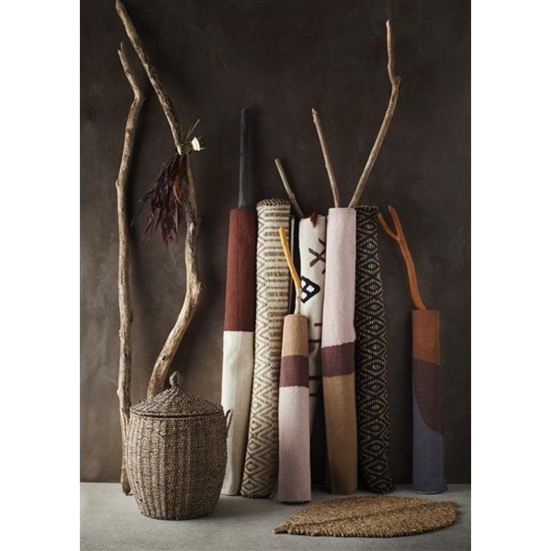 Madam Stoltz-collectie Hand woven cotton runner - Off white, sugar almond, grey