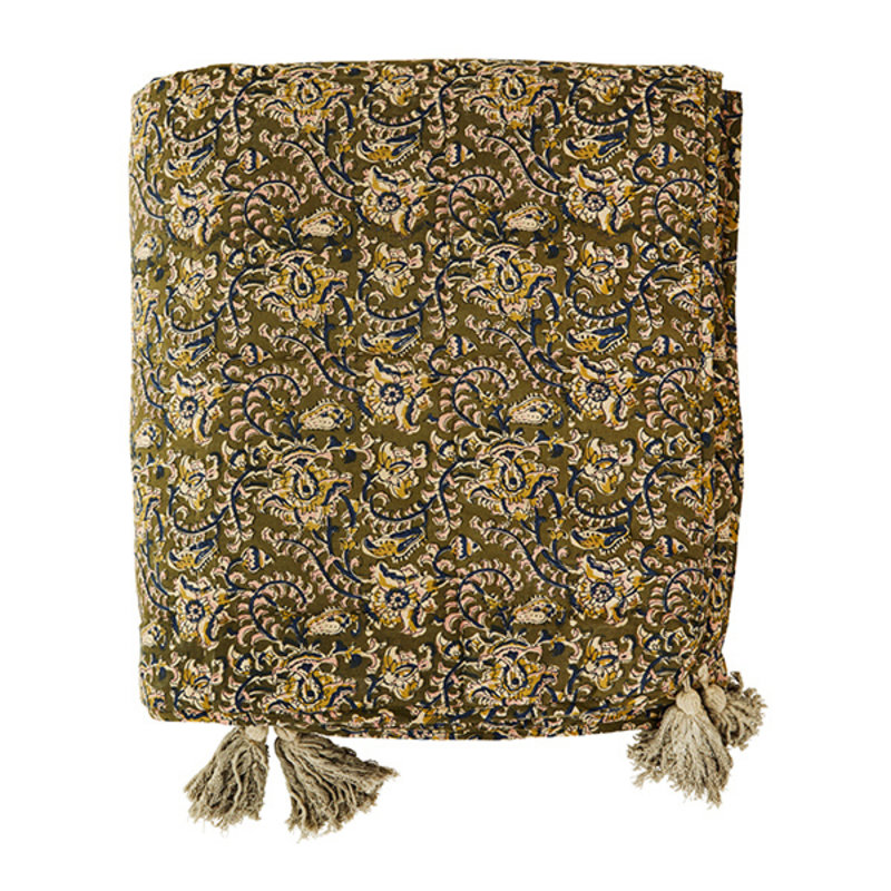Madam Stoltz-collectie Printed cotton plaid w/ tassels - Olive, blue, dusty rose, sand