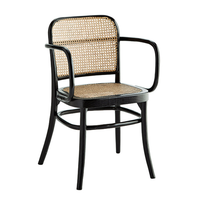 Madam Stoltz-collectie Wooden chair w/ armrest and rattan - Black, natural