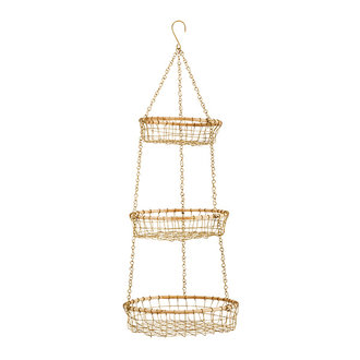 Madam Stoltz Hanging wire baskets w/ cane - Ant.brass, natural