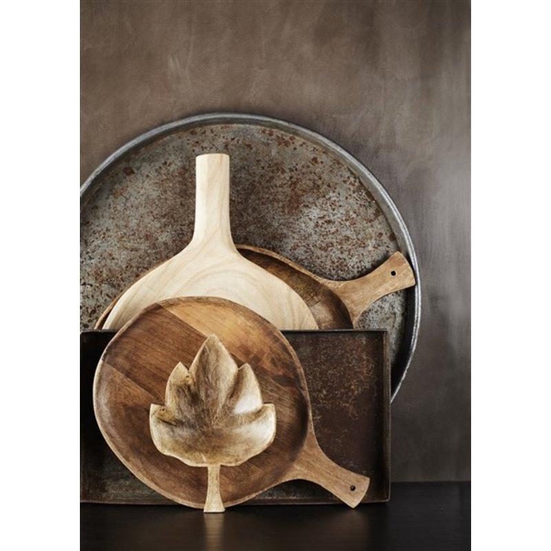 Madam Stoltz-collectie Houten serveerschaaltje blad 17x24x4 cm