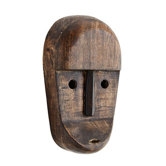 Madam Stoltz Wooden mask w/ eyes - Dark brown