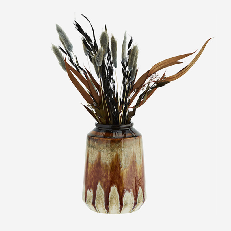 Madam Stoltz-collectie Stoneware vase - Brown, orange, cream