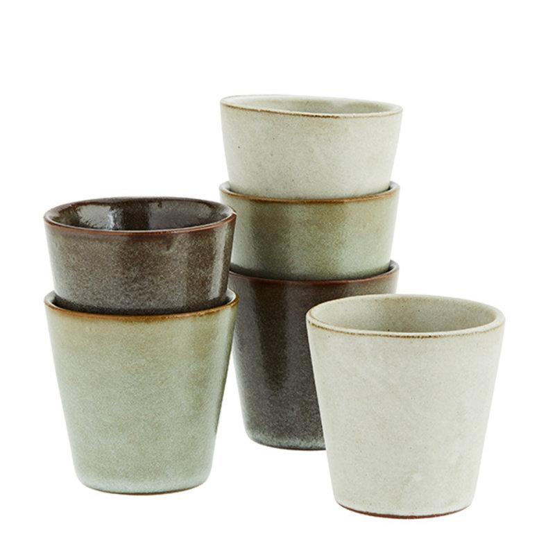 Madam Stoltz-collectie Stoneware cups - Light stone, liquen, dark taupe