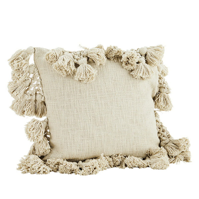 Madam Stoltz-collectie Cushion cover w/ tassels - Ivory