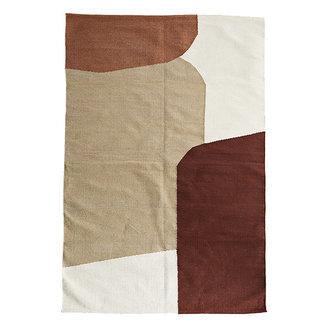 Madam Stoltz Hand woven cotton rug - Off white, plum, sugar almond, light kaki