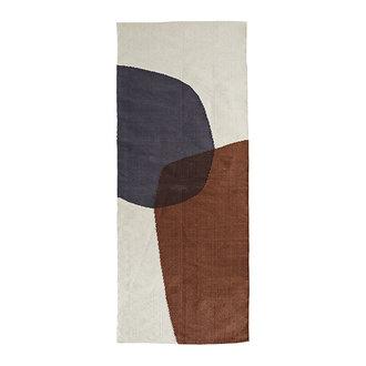 Madam Stoltz Hand woven cotton runner - Off white, sugar almond, grey