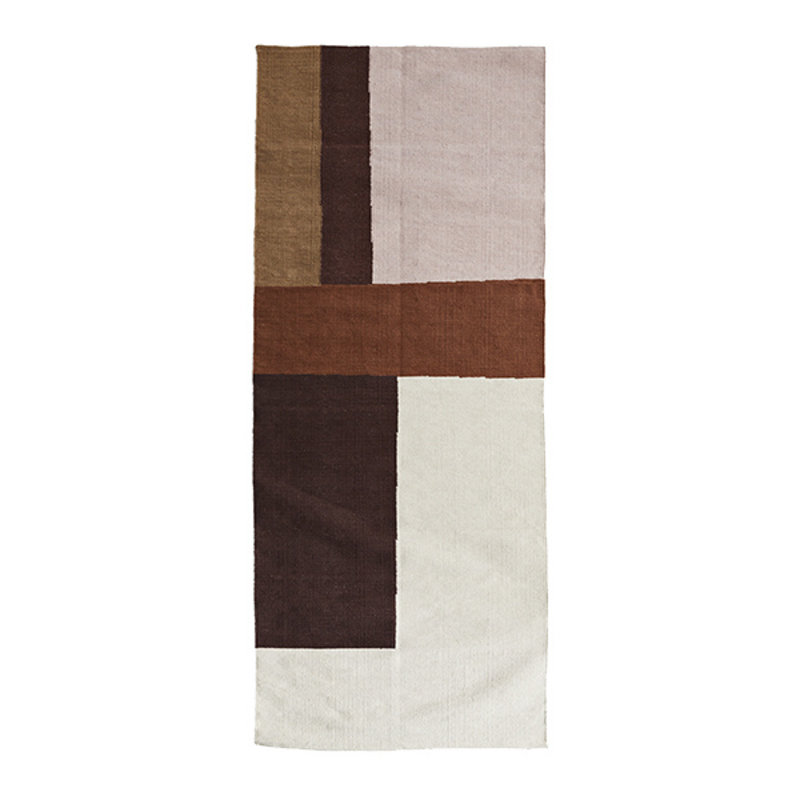 Madam Stoltz-collectie Hand woven cotton runner - Off white, cognac, rose, sugar almond, light kaki