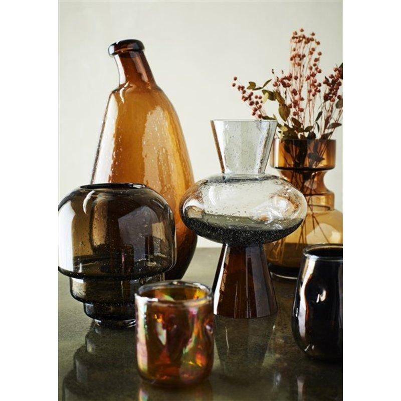 Madam Stoltz-collectie Glass vase - Dark coffee