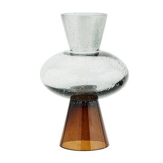 Madam Stoltz Two tone glass vase  - Grey, brown