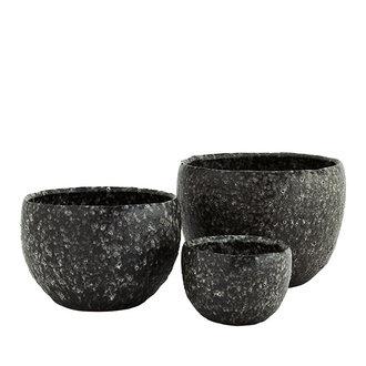 Madam Stoltz Stoneware flower pots - Lava stone