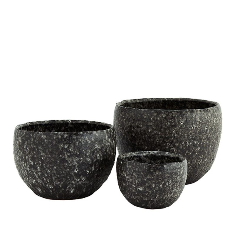 Madam Stoltz-collectie Stoneware flower pots - Lava stone