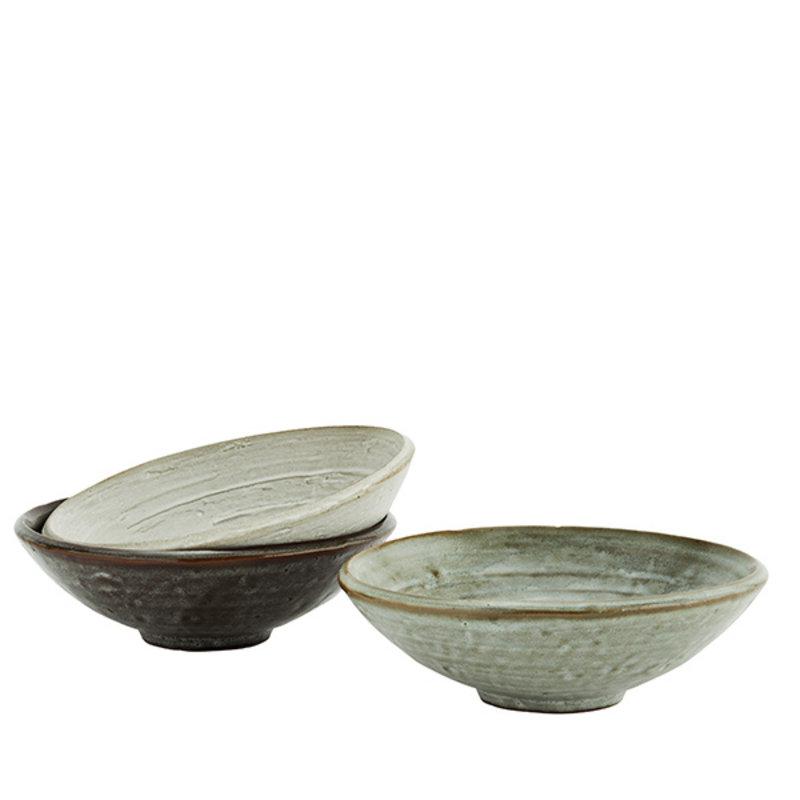 Madam Stoltz-collectie Stoneware bowls - Light stone, liquen, dark taupe