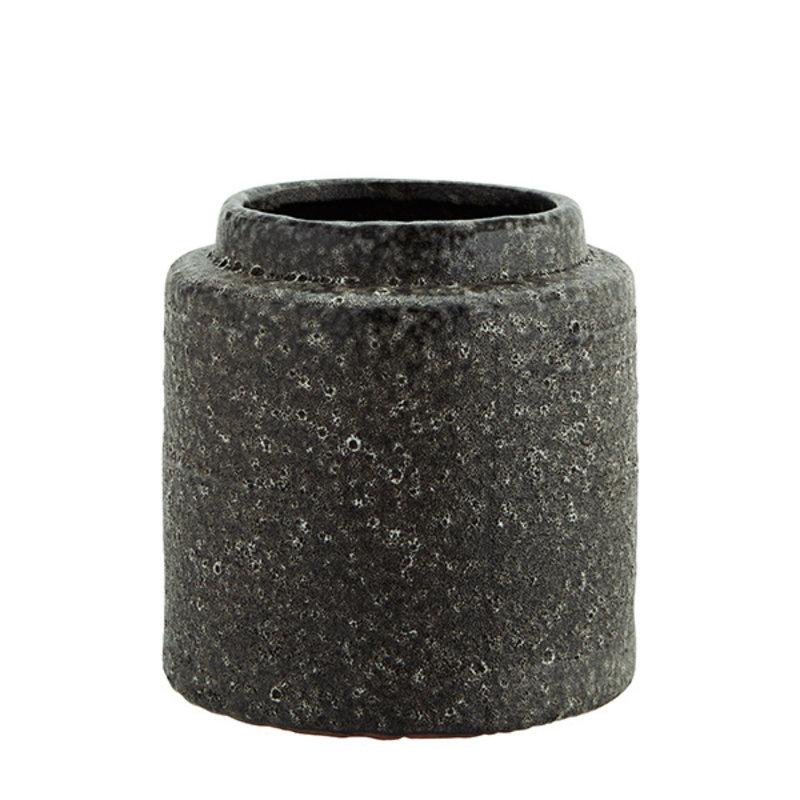 Madam Stoltz-collectie Stoneware flower pot - Lava stone