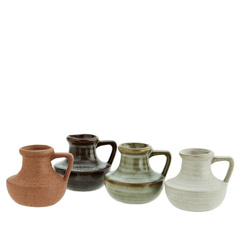 Madam Stoltz-collectie Small stoneware vases - Rust, light stone, liquen, dark taupe
